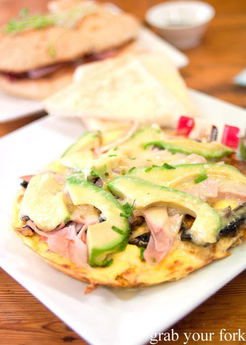 Avocado, ham and mushroom omelette breakfast at Roger's Deli and Cafe, Kingscote, Kangaroo Island