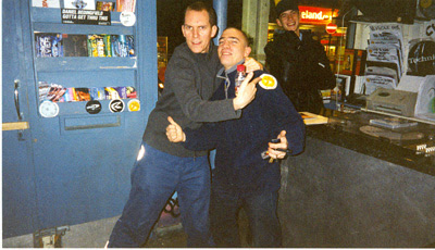 Artwork and Skream in Big Apple records Croydon, circa 2001