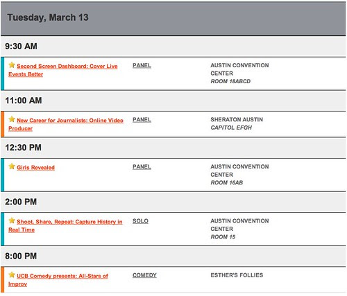 My SXSW Schedule for Tuesday, March 13, 2012 by stevegarfield