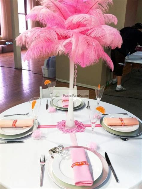 Feather Plume Palm Tree/ Baby Pink Ostrich Feather