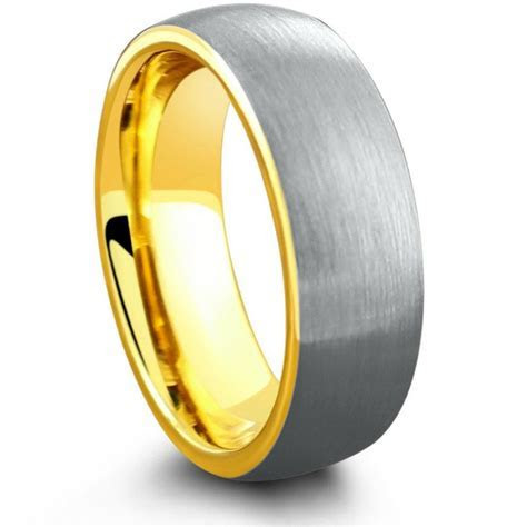 18K Yellow Gold Brushed Tungsten Wedding Ring ? Northern