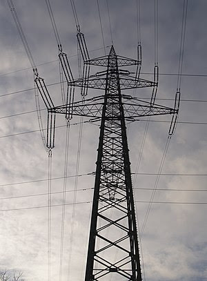 Electricity Pylon, crossing lines
