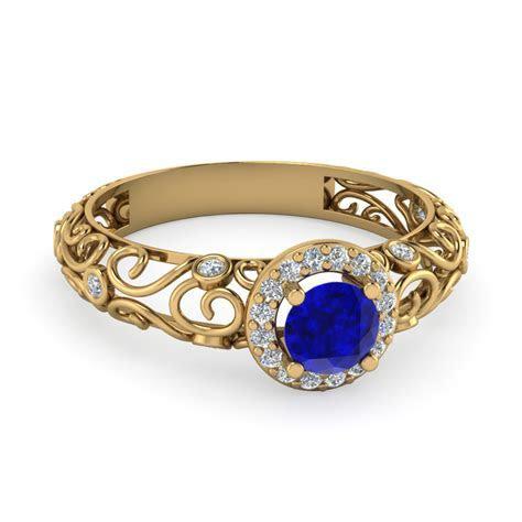 Bezel Filigree Halo Sapphire Engagement Ring In 14K Yellow