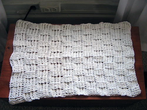 Basketweave crocheted dishtowel