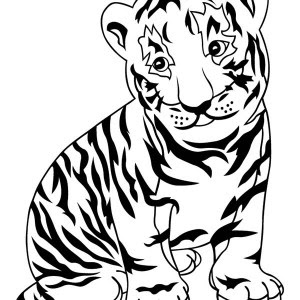 a cartoon drawing of two cute tiger cubs coloring page