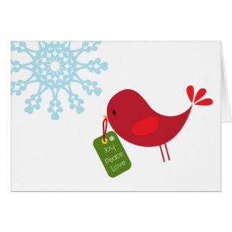 Sweet Christmas Bird - Greeting Card