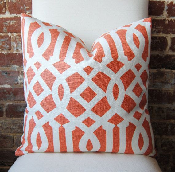 Imperial Trellis in mandarin / ivory - Pillow Cover - 20 in square - Designer Pillow - Decorative Pillow - Throw Pillow. via Etsy.