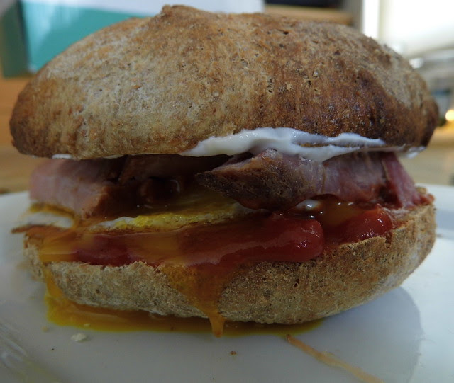 Sandwich Salsa Fried Egg Gammon homemade Bread