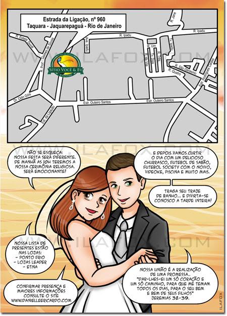 Convite em quadrinhos, convite original, convite história noivos, convite divertido, by ila fox