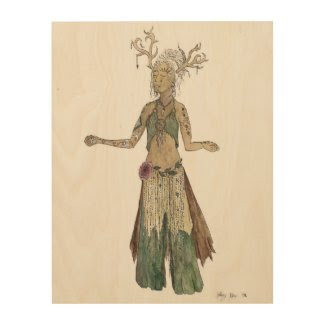 Forest Spirit Goddess Watercolor Drawing Wood Wall Art