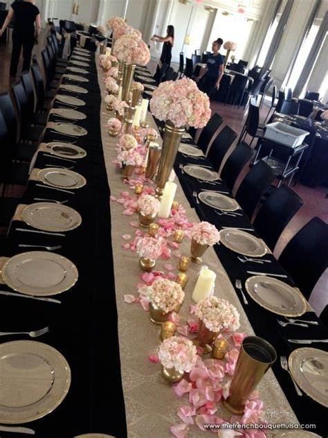 black gold and white wedding tables   Google Search