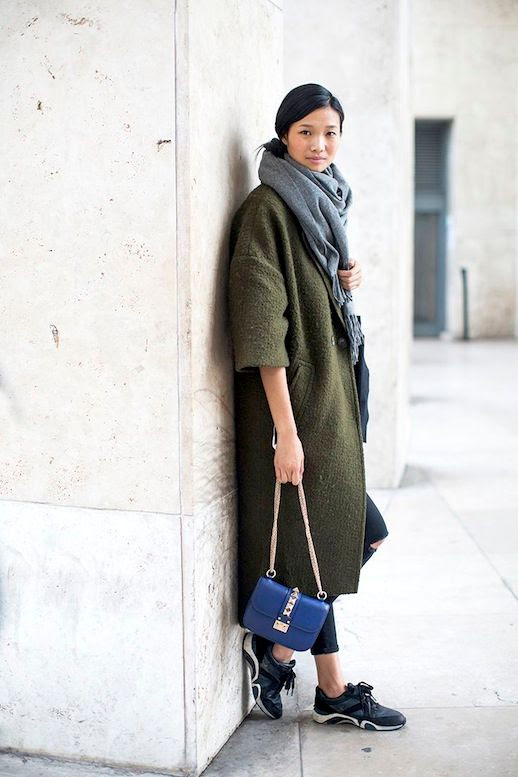Le Fashion Blog Winter Street Style Oversized Scarf Long Green Coat Distressed Cropped Denim Blue Valentino Bag SneakersVia Vogue