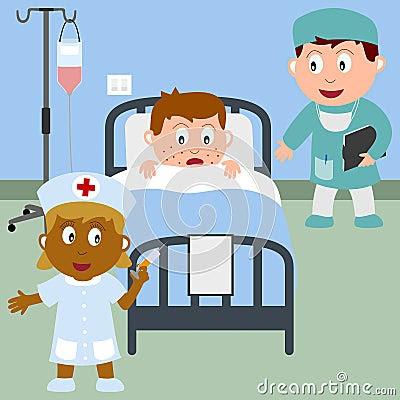 Royalty-vrije Stock Foto's: Zieke Jongen in een Bed van het Ziekenhuis. Beeld: 9590078