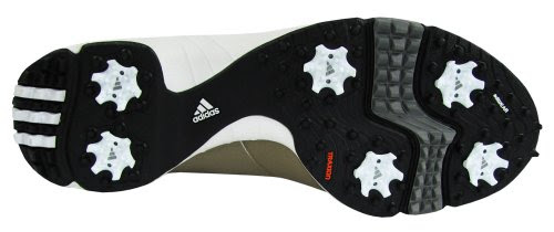 Underside of a golf shoe, showing the spikes
