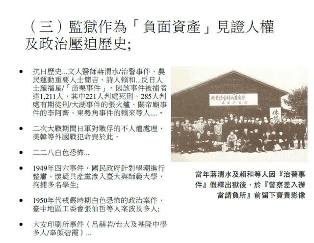 台北監獄作為「負面資產」見證人權與政治壓迫史