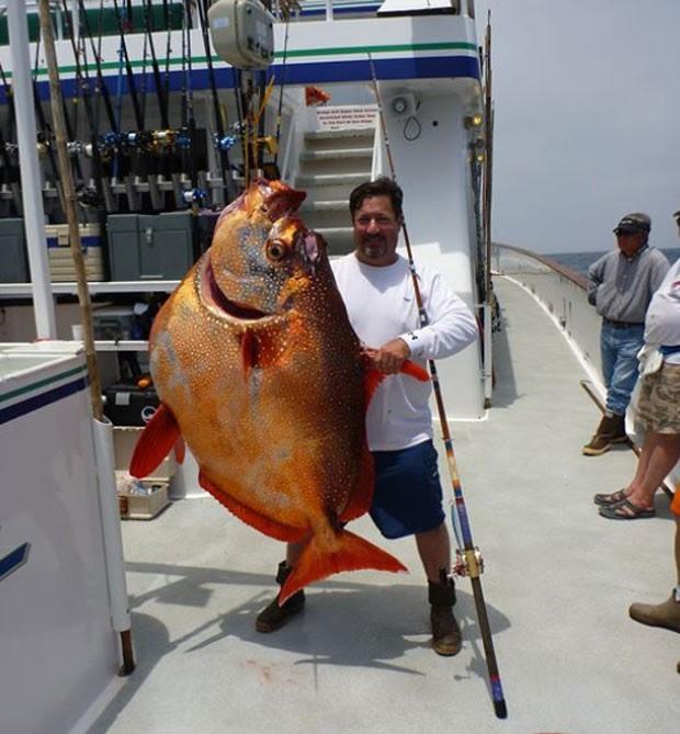 Joe Ludlow exibe peixe opah de 82,10 quilos (Foto: Reprodução/Facebook/Joe Ludlow)