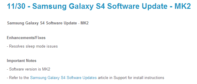 Sprint Galaxy S4 Gets Software Update MK2 That Resolves Sleep Mode Issues