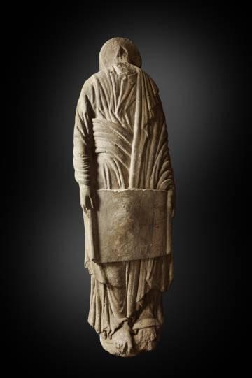 Escultura hallada durante el vaciado de la Torre Sur.