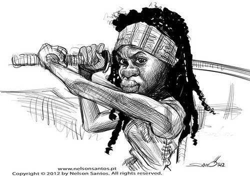 Walking Dead Michonne Caricature Sketch by caricaturas