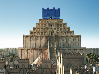 Imaginary reconstructin of the Etemenanki ziggurat in Babylon