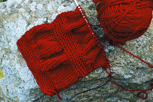 red scarves forOFA, hand knit