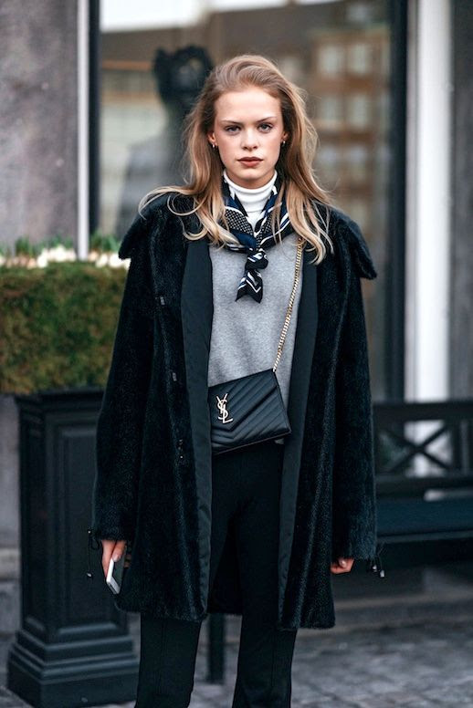 Le Fashion Blog Street Style Fashion Week Long Dark Green Coat Printed Silk Scarf Turtleneck Sweater YSL Bag Trousers Via Vogue