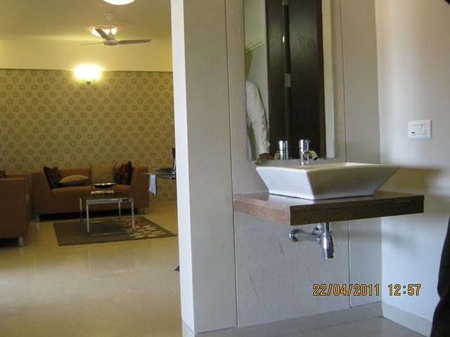 Living and wash basin in the sample flat at Park Springs - 2 BHK - 3 BHK Flats - Lohegaon Gram Panchayat - Dhanori - Pune 411 032 - By Pride Purple Group & Rainbow Housing