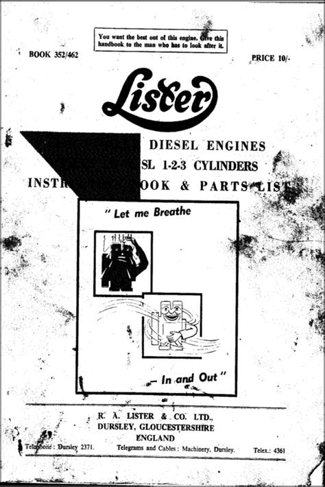 Lister LD1, SL1 Diesel Engine Instruction Book - MARINE