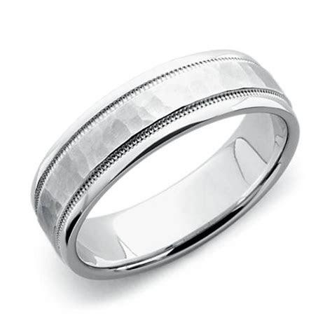 Hammered Milgrain Comfort Fit Wedding Ring in Platinum