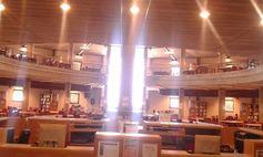 BIBLIOTECA DE ECONOMÍA, EMPRESA Y TURISMO,en el Campus de Guajara, la sala de lectura bañada por la luz del sol.