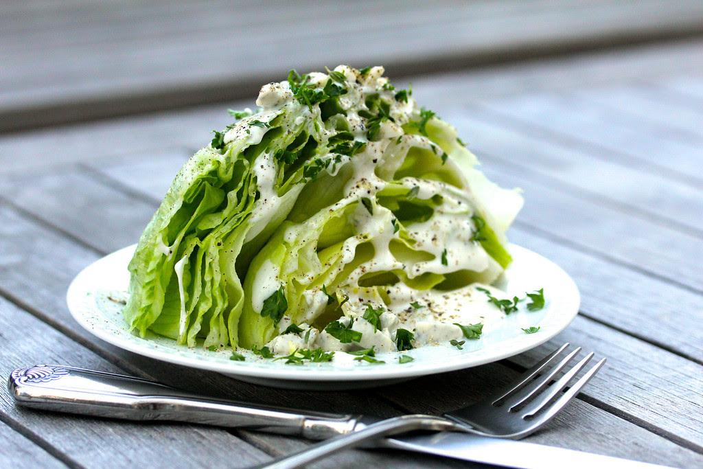 Iceberg Lettuce Salad with Roquefort Buttermilk Dressing