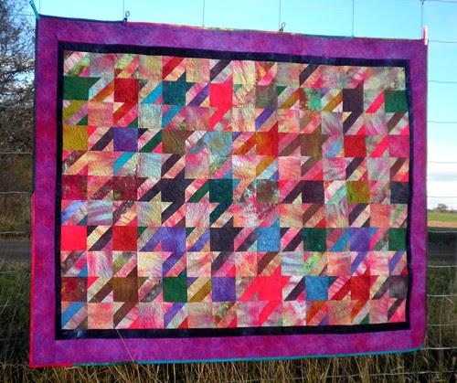 Houndstooth Quilt with Hand Dyed Fabric