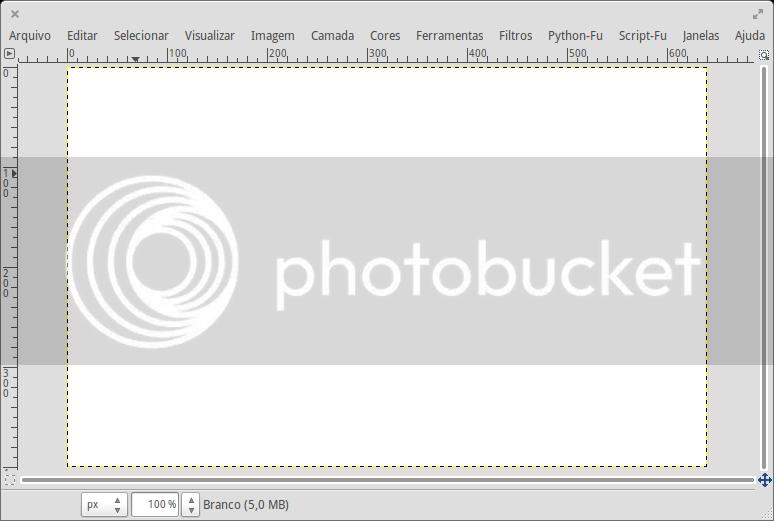 Área de Trabalho - Edição - Uma imagem ou camada totalmente branca esta aberta, a proporção do zoom é de 100%.