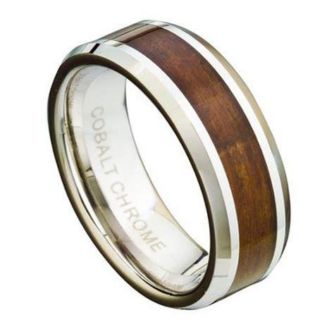 Men's Cobalt Chrome Wedding Ring With Koa Wood Inlay