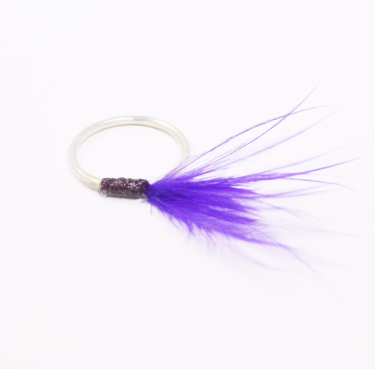 Silver ring with Purple Feather - korneliaShop