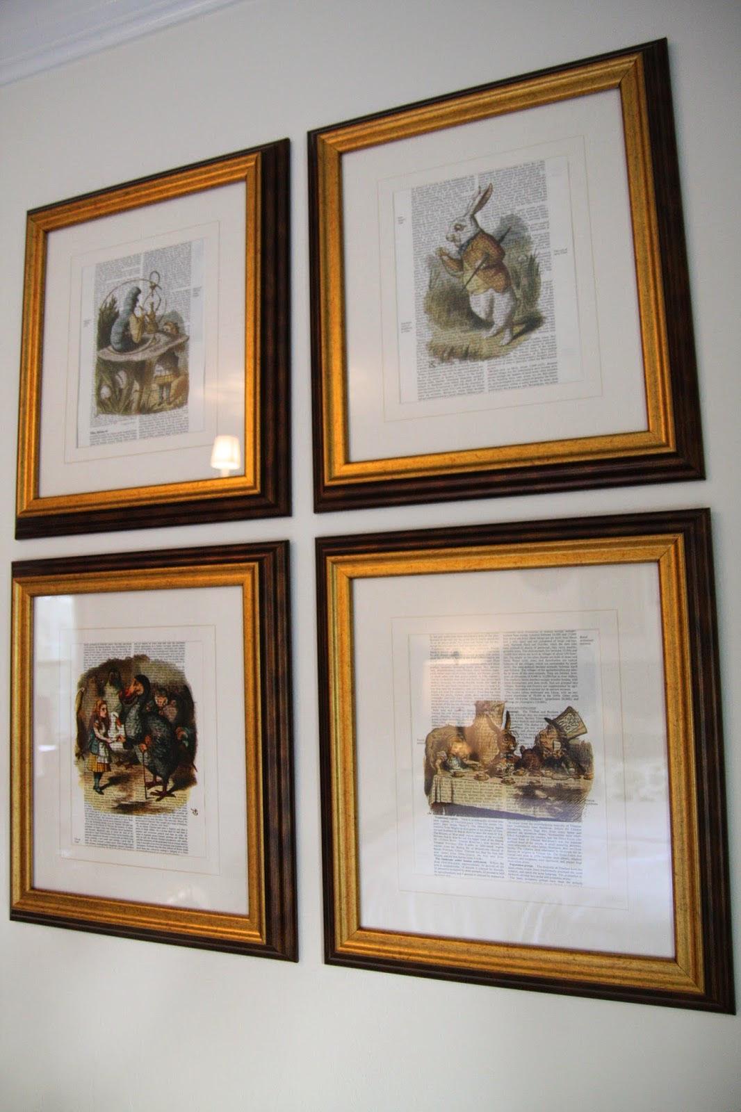 framed book sheets alice in wonderland easy gold frame diy better decorating bible blog