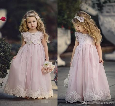 Country Cheap Pink Flower Girl Dresses For Weddings