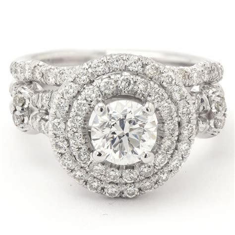 cut double halo diamond engagement ring matching