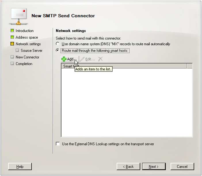 Exchange 2007 new send connector step 3