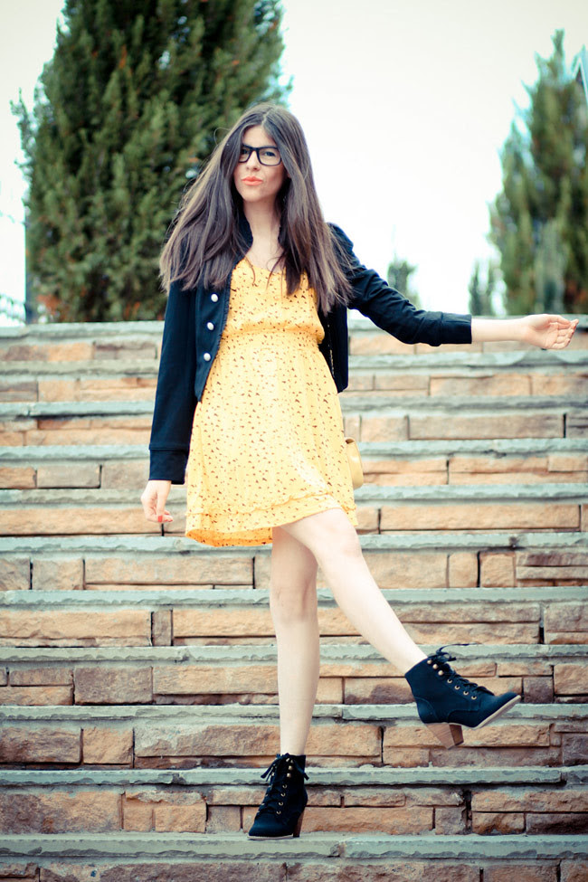 Modcloth Yellow Dress, Vintage Chanel bag, Ankle boots, Fashion outfit, Glasses
