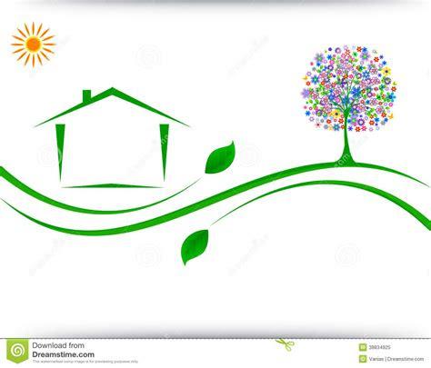 house logo design stock vector image  green icon