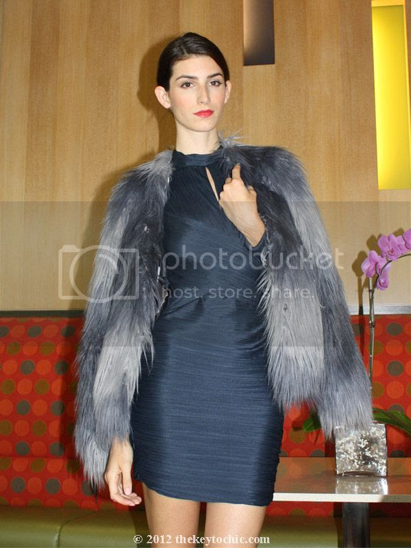 Rachel Zoe faux fur jacket, shaggy faux fur coat, Halston heritage bandage dress