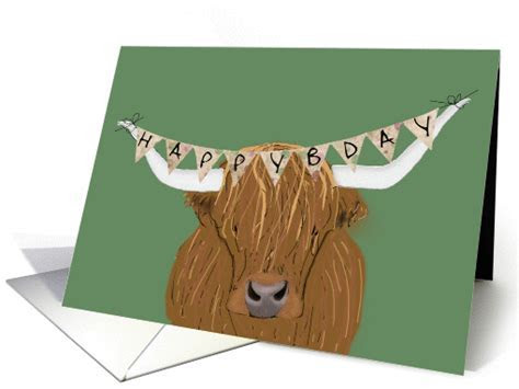 Scottish Highland Cow Happy Bday for Cowboy card (1436604)