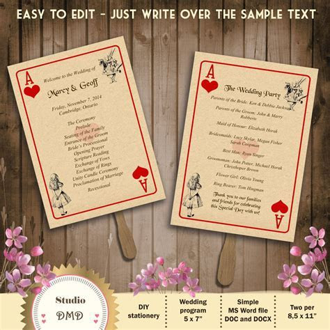 Printable Wedding Program Template ? Alice in Wonderland