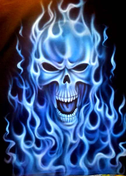 Ghost Skull And Flames Airbrushed On Black T Shirt Or Sweatshirt