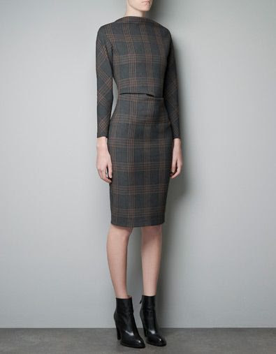 Zara Fitted Checked Dress