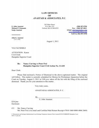 Cover Letter Notice Of Voluntary Dismissal With Prejudice