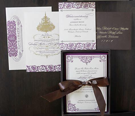 Lindsey   Evan's Gilded Formal Wedding Invitations