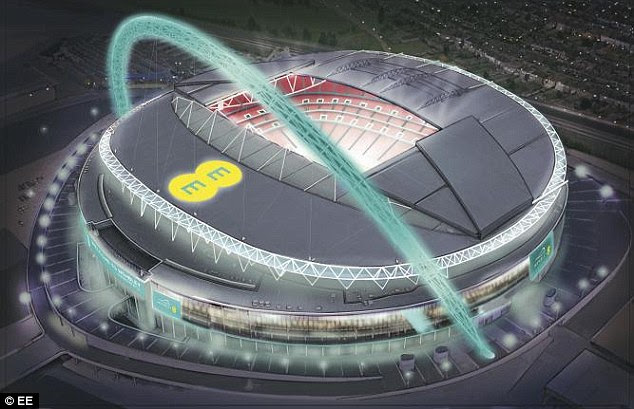 Elsewehre in the sports arena, Deutsche Telekom unveiled plans for a Smart Stadium. It takes information from seat sensors and cameras to recognise trouble spots. These plans follow last week's announcement that EE has partnered with Wembley Stadium, pictured, to give fans event details, stadium and travel information