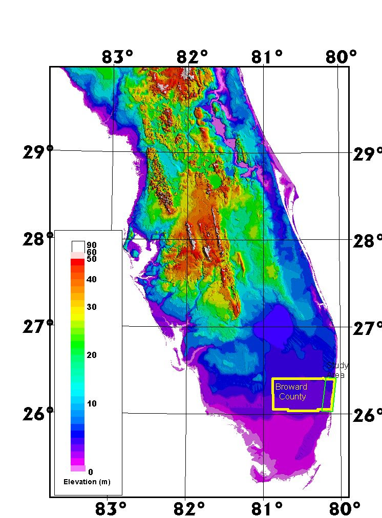 Florida Elevation Map Florida Topographic Map Elevation | Map Of Us Western States